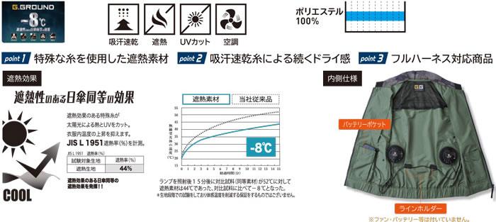 桑和G.GROUNDファン付き作業服7129シリーズUVカット空調服